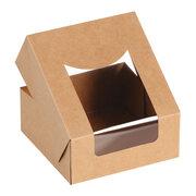 Bio Food Box Snackbox mit Deckel und Sichtfenster aus PLA 12 x 12 x 5 cm, 25 Stk