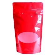 Standbodenbeutel PET rot glänzend, mit Fenster, 130x225x70mm, 500 ml , 500 Stk.