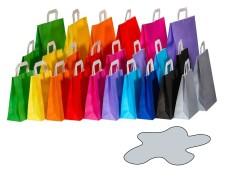 Papiertragetaschen Papiertaschen Flachhenkel 18x8x22cm grau, 70gr. 50 Stk.