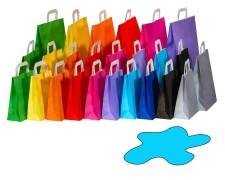 Papiertragetaschen Papiertaschen Flachhenkel 18x8x22cm hellblau 70gr. 50 Stk.