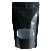 Standbodenbeutel PET schwarz glänzend mit Fenster 130x225x70mm, 500ml, 500 Stk.