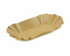 BIONATURE Pappschale oval braun 10,5 x 17,5 x 3 cm fettdicht recycling 250 Stk.