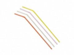 Trinkhalme Flexhalme, transparent bunt gemischt, 240 mm Ø 5 mm,  50 Stk.