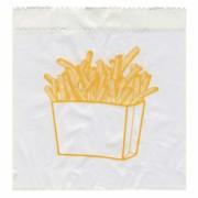 Pommes-Frites Beutel bedruckt, 100x50x110mm, mit Seitenfalten,  300 Stk.