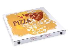 Pizzakarton aus Mikrowellpappe mit neutralem Motiv, 34 x 34 x 3 cm, 100 Stk.