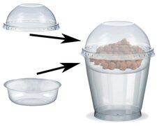 Feinkostbecher für Salat, Müsli, Joghurt mit Einsatz + Deckel 250 ml, 100 Stk.