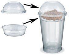 Feinkostbecher für Salat, Müsli, Joghurt mit Einsatz + Deckel 500 ml, 100 Stk.