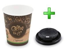 Kaffeebecher M Cappuccino To Go mit Trinkdeckel schwarz 200 ml 280 ml 100 Stk.