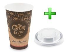 Kaffeebecher XL Coffee To Go Latte Macch mit Trinkdeckel 400ml 510ml 100 Stk.