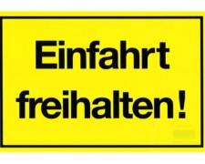 Gebotsschild gelb Einfahrt freihalten - 300x200mm