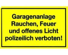 Gebotsschild gelb M Garagenanlage - Rauchen - Feuer - offenes Licht verboten