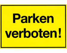 Gebotsschild gelb Parken verboten - 400x250mm