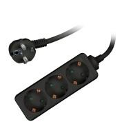 3-fache Steckdosenverlängerung Steckdosenleiste mit Kindersicherung schwarz 1,5m