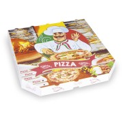 Pizzakarton aus Mikrowellpappe mit neutralem Motiv, 30 x 30 x 3 cm, 100 Stk.