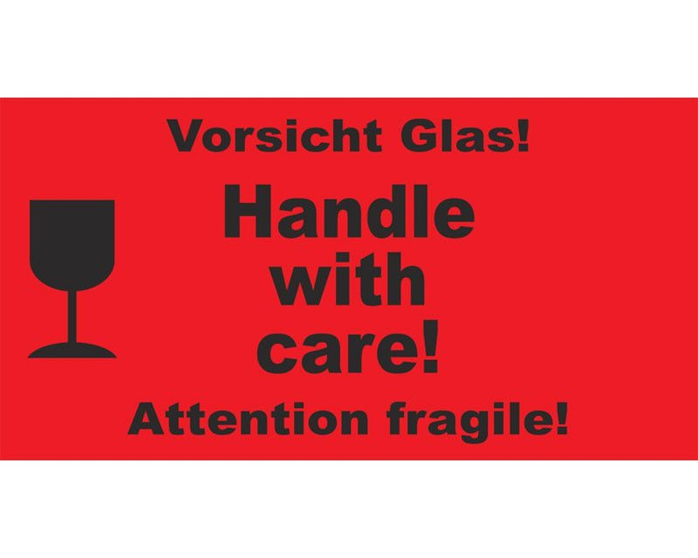 Hinweisetiketten Rot Handle With Carevorsicht Glas 145x76mm 1000 Stk