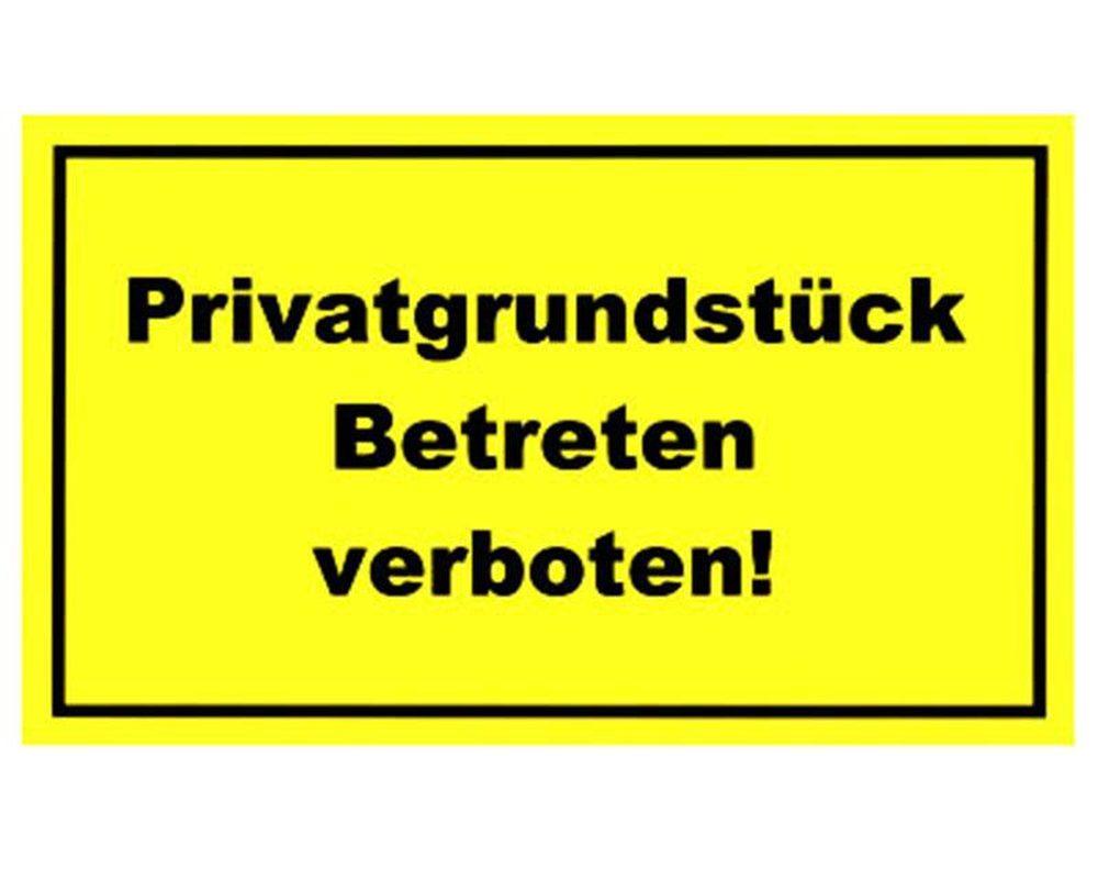 gebotsschild gelb 39 privatgrundst ck betreten verboten 39 300x200mm. Black Bedroom Furniture Sets. Home Design Ideas