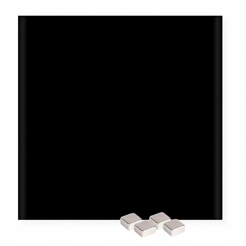 glasboard magnettafel memoboard magnetisch kratzfest 45 x 45 cm schwarz. Black Bedroom Furniture Sets. Home Design Ideas