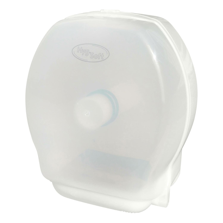 HYGSOFT Toilettenpapier-Spender absperrbar für Jumborollen bis 28 cm Ø, weiß