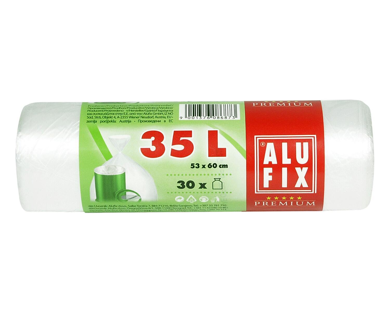ALUFIX Müllsäcke  35 L, HDPE 53 x 60 cm 11my, weiß, 30 Stk.