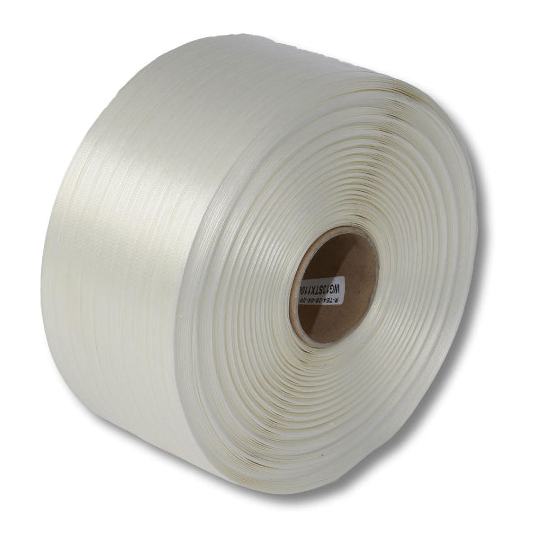 Textil-Umreifungsband, weiss, Polyester,  13 mm Breite, 1100 meter auf Rolle
