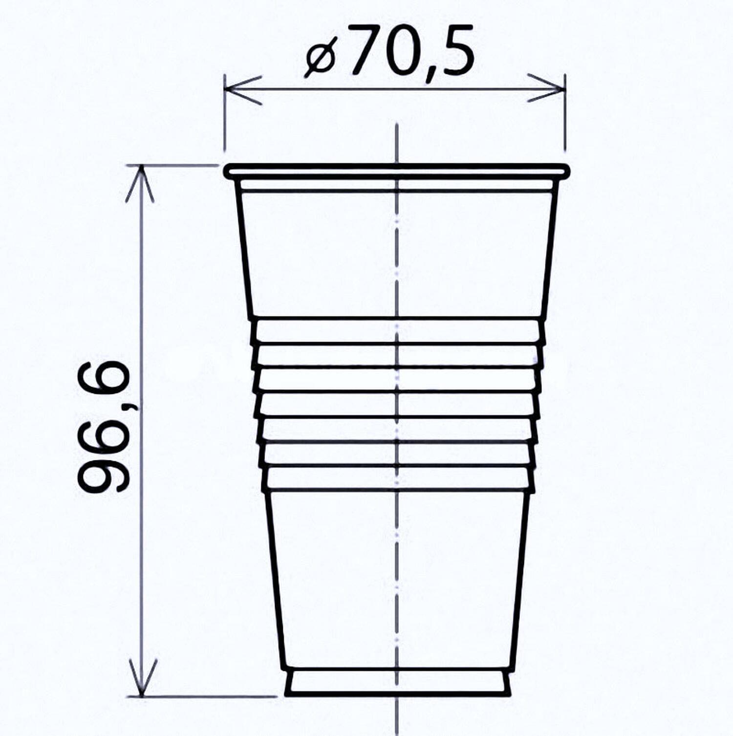 Trinkbecher weiß 200 ml Eichstrich bei 0,2 L, PP, Ø 70 mm, 100 Stk.