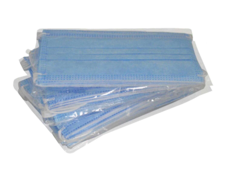 Mundschutzmaske 3-lagig mit Nasenbügel und Ohrschlaufe blau,  5 Stk.