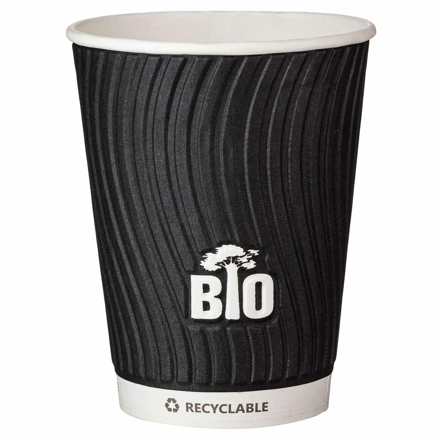 Pappbecher TESSERA BioTREE 450 ml geprägt wasserbasierend schwarz 25 Stk.