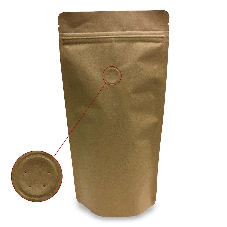 Standbodenbeutel Kraftpapier braun mit Aromaschutzventil 200x280x120mm, 500 Stk.