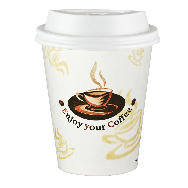 Kaffeebecher Coffee To Go ENJOY YOUR COFFEE mit Deckel weiß 200 ml,  50 Stk.