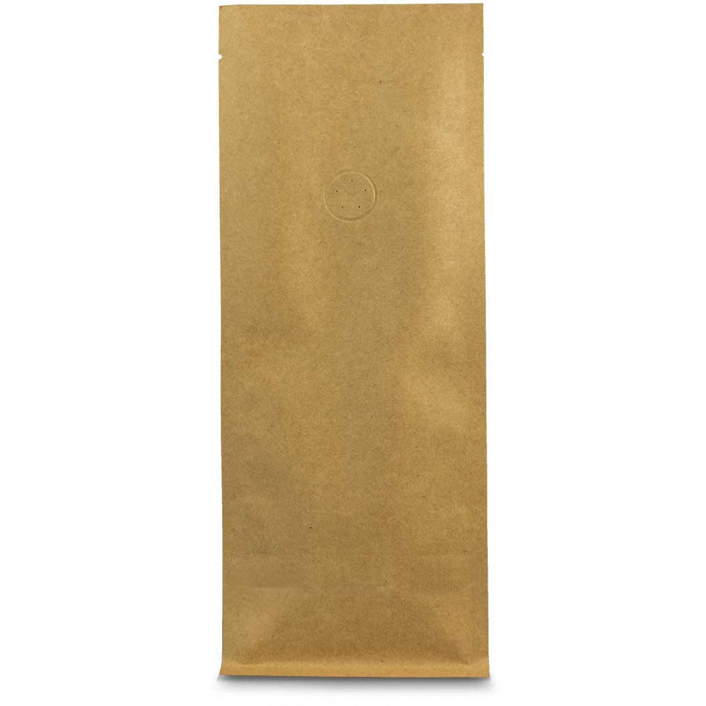 Flachbodenbeutel Kraftpapier braun mit Aromaschutzventil 95x185x60mm, 1000 Stk.