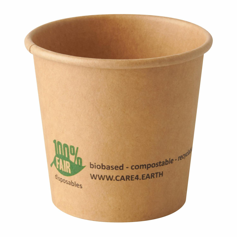 BIO Portionsbecher aus Pappe pure, 90 ml braun 100% Fair, 50 Stk.