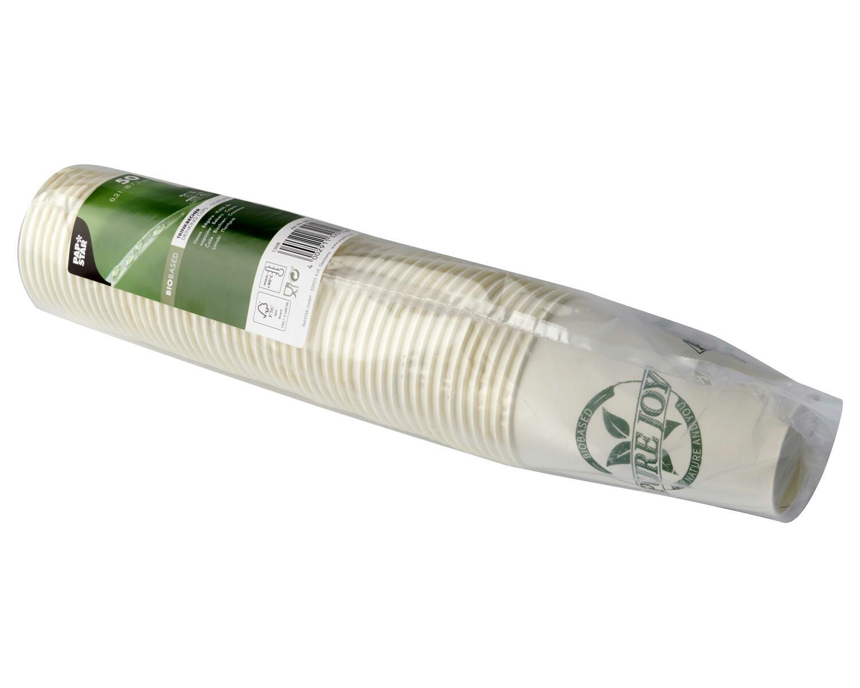 Pappbecher Heißgetränkebecher ToGo 0,2 l Biobased ohne Plastik, 50 Stk.