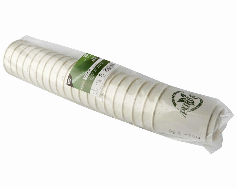 Doppelwandbecher Heißgetränkebecher ToGo 0,2 l Biobased ohne Plastik, 20 Stk.