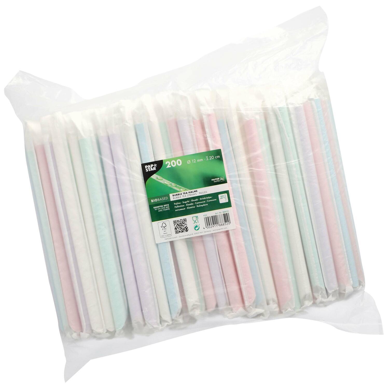 BubbleTea Slush Papierhalme Ø12mm 20cm farbig sortiert einzeln gehüllt, 200 Stk.