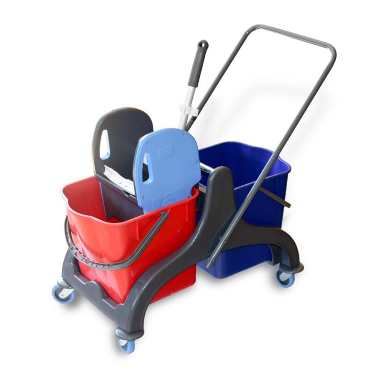 Premium Reinigungswagen Doppelfahrwagen mit 2x 25L Eimer Moppresse
