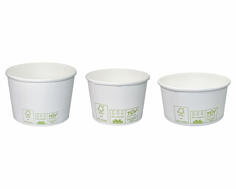 BIO Eisbecher Pappe FSC rund 100 ml Ø 70mm, Höhe 45mm weiß,  50 Stk.