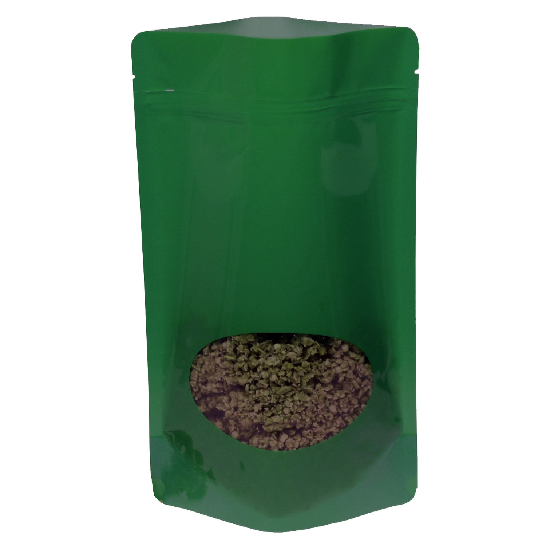Standbodenbeutel PET dunkelgrün glänzend, mit Fenster, 110x185x65mm, 1000 Stk.