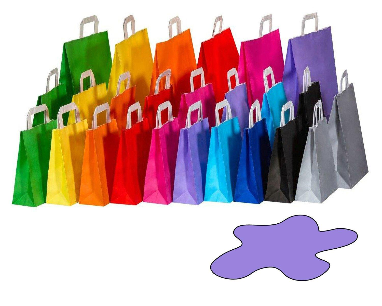 Papiertragetaschen Papiertaschen Flachhenkel 18x8x22cm violett, 70gr. 50 Stk.