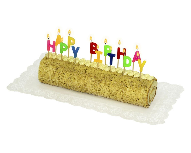 Partykerzen, HAPPY BIRTHDAY auf Holzpicker, 65mm, 13 Stk.