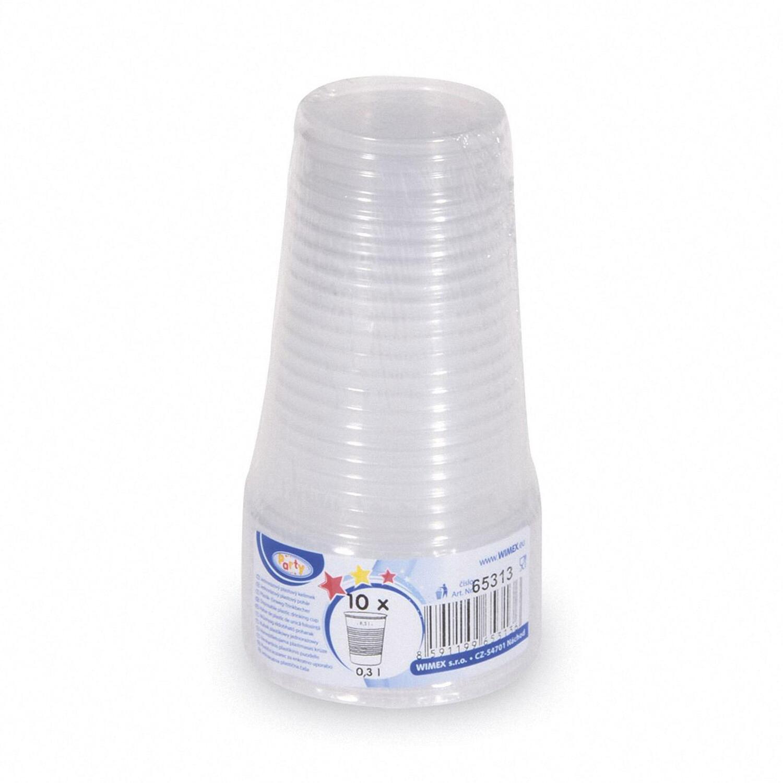 Trinkbecher transparent klar mit Eichstrich 0,3 l, 300 ml, PP,  10 Stk.