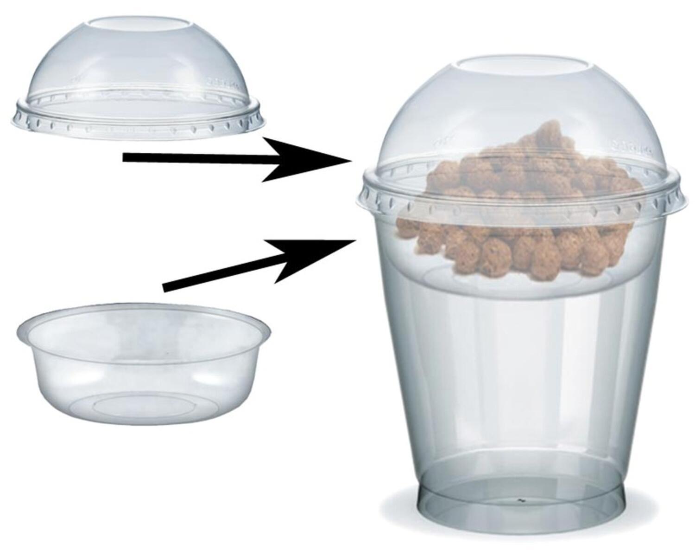 Feinkostbecher für Salat, Müsli, Joghurt mit Einsatz + Deckel 300 ml, 100 Stk.