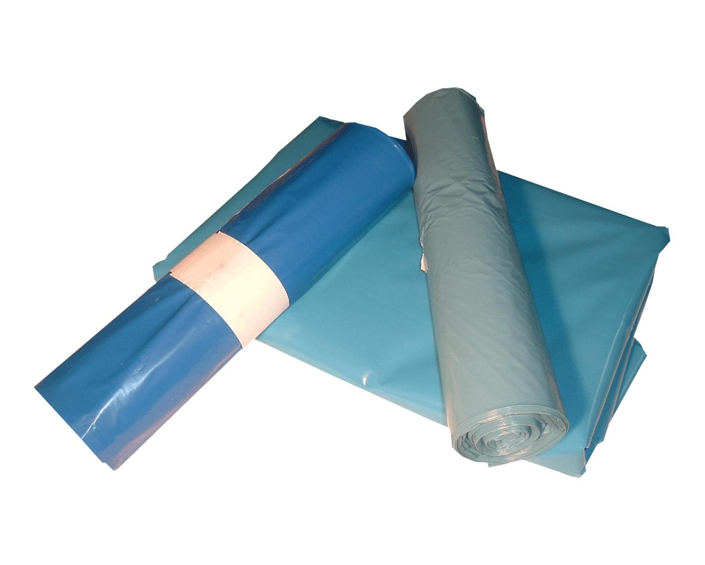 LDPE-Müllsäcke 70 L, 575 x 1000 mm, Typ 60 = 32 my Regenerat blau, 250 Stk.