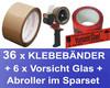 36x Packband Klebeband 50mmx66m, LowNoise braun + 6x Vorsicht Glas + Abroller